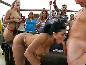 Licentious and sexual orgy fucking with girls