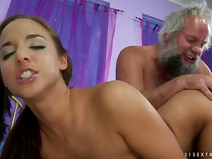 Amirah Adara fingered added to dildoed by old man