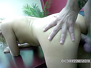 Teen cutie Henchman Kay fucks and gets splattered with cum
