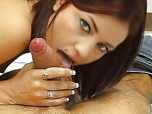 Horny sweetheart is ingratiating lad with footjob