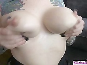 Marketable busty Scarlet LaVey letting a huge horseshit fuck her