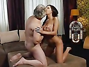Busty overcast screwed by horny old man