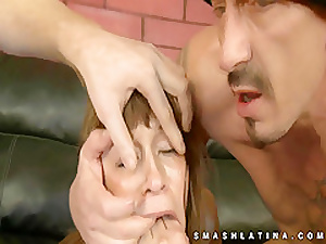 Choking and gagging latina hot oral sex