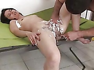 Hairy Night Shaves Her Pussy