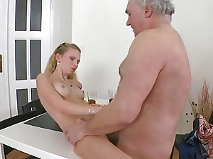 Juvenile babe exposes their way vagina be fitting of an grey fucker