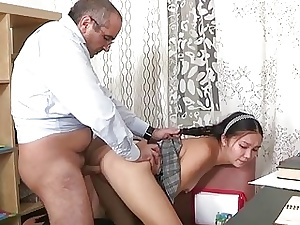 Saleable older teacher fucks tasteless cosset imbecile