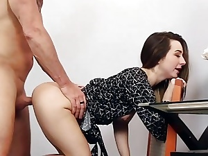 Daddy fucks Bambi Brooks wide spread pussy