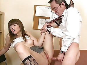 Older motor coach is silencing youthful babes beaver