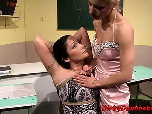 Lezzie domination lecturer penalizing tied sub teenie
