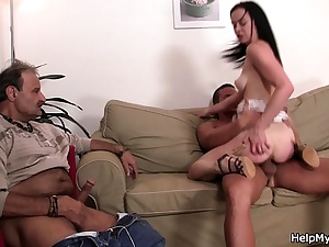 His youthfull dark haired girl acquaintance railing another dick