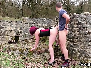 GERMAN Inexperienced Nubile Couple Ravage Outdoor for Own Porn Video