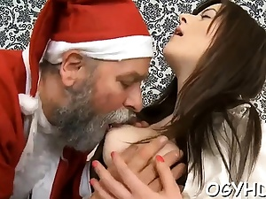 Youthful beauty gargles old jizz-shotgun and gets moist violate licked