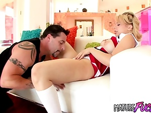 Super-cute cheerleader Aurora Monroe humped