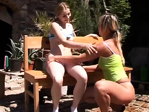 Puny girl-on-girl going knuckle deep and ash-blonde spring break plumb Kate