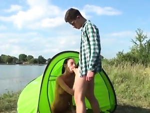 Teenager glasses squirt Eveline getting torn up on camping