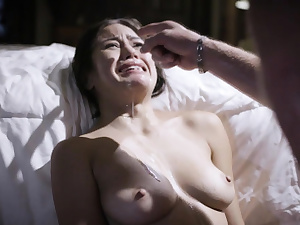 Kendra Spade sprays in tears after being plowed by daddy