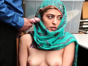 Office restroom Hijab-Wearing Arab Teenie Sexually abused For