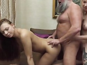 A ash-blonde and a brown-haired in older and youthful 3some rock-hard fuck tape