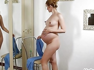 Preggo Kate Undresses Nude and Lubricates Herself Up!