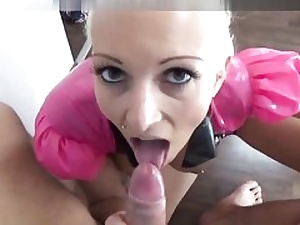 Platinum-blonde spandex barbie getting her shaved muff bashed tough