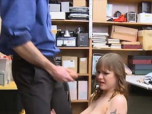 Huge titty thief face nailed and disciplined hard in the office