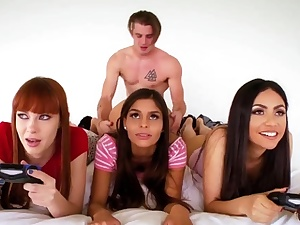 Girls gang sex and kinky college soiree Gamer Girls