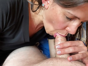 Milf nearly gets caught sucking my rod by her mom right as I spunk POINT OF SIGHT. Still swallows it