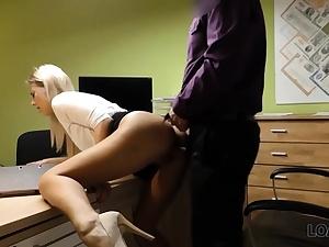 LOAN4K. Sexy blondie pays for her debts using her flawless