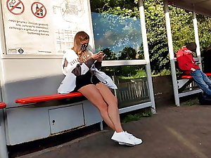Legs and Bum Teen Spycam at Bus Stop