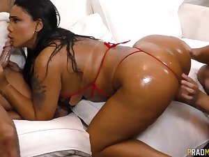 Filthy Latina tart gets dual penetarted by two kinky studs