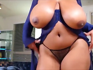 Steamy dark-hued whore unveiling her really phat inborn boobs