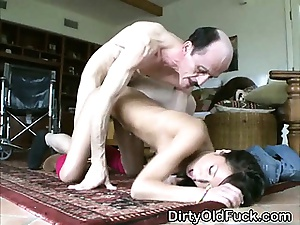 Pretty Asian Teen Spread out Gets Bent Over By Old Man