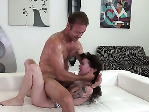 Skinny girl gets rough fucking