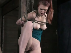 Vertical suspension babe masturbated