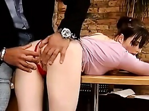 Pale Schoolgirl Being Fucked In The Ass